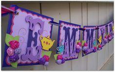 Handmade Banner - Custom made - GO GREEN - Name Banner Happy Birthday Baby Shower Bridal Shower Alice in Wonderland Tea Party via Etsy