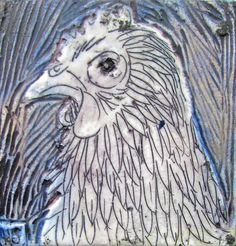Poultry Portrait sm I Helen Evans 100x100mm Encaustic on board