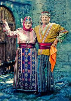 Traditional Armenian costumes from Central Anatolia.  Clothing style: late-Ottoman era, ca. early 20th century.  These are recent workshop-made copies, as worn by folk dance groups.