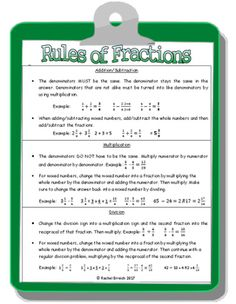 This link takes you to a PDF with the rules of fractions! Math Skills, Math Lessons, Math Resources, Math Activities, School Websites, Math Tutorials, Fraction Games, Eureka Math, Maths Solutions