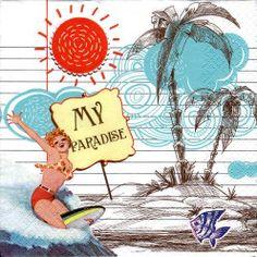 Szalvéta i2836 Surfer's Paradise - Szalvétaüzlet - Szalvéták és decoupage kellékek árusítása nagy választékban.