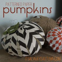 such a fun and easy Halloween craft! Have the kids help you make these adorable patterned paper pumpkins. #halloween #kids craft from itsalwaysautumn.com