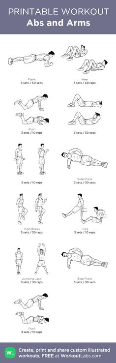Abs and Arms: my visual workout created at WorkoutLabs.com • Click through to customize and download as a FREE PDF! #customworkout