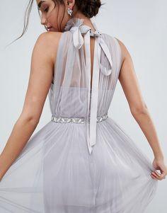 ASOS Embellished Waist High Neck Tulle Maxi Dress - Gray Формальні Сукні a4f19d664b414