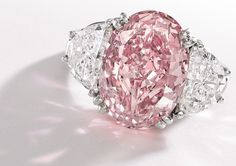 """The Graff Pink"" is a rare pink diamond ring valued at MUCHO DINERO! It's the most expensive jewel ever bought at $44 million by British billionaire jeweler Laurence Graff."