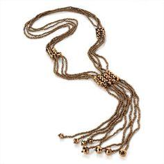 Bronze Bead Tassle Necklace