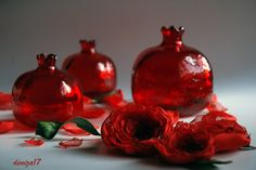 3 Red Glass Pomegranate by DenizasDecor on Etsy, $33.00