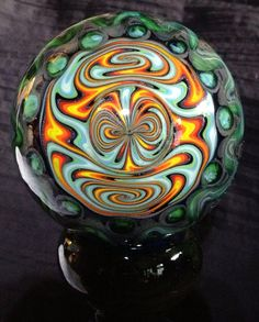 "Large 3"" Glass Marble Grateful Dead with Custom Matching Stand (view 2)"