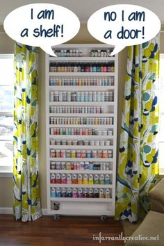 "This easy-to-build storage shelf for craft supplies swings open like a door to reveal a hidden ironing board!<br /><br /> Source: <a href=""http://www.infarrantlycreative.net/2013/03/hidden-bookcase-door.html#.Us27gvuoBSM"" target=""_blank"">Infarrantly Creative</a>"