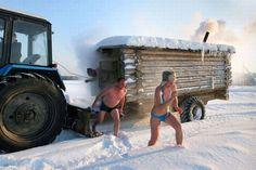 Mobile sauna in Europe.