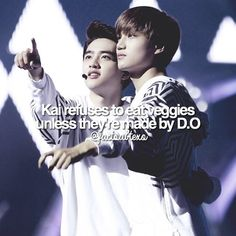 our kaisoo ship is sailing (plus d.o is an amazing cook so i understand) Idk if this is real but Kaisoo, Exo Ships, 5 Years With Exo, Exo Facts, Exo Couple, Xiuchen, Baekhyun Chanyeol, Exo Do, Exo Memes