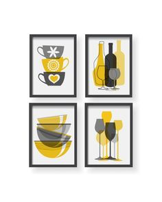 Mustard Yellow Gray Modern Kitchen Poster Set - Modern Colorful Kitchen decor - Kitchen wall art - Kitchen prints - Kitchen art - Kitchen poster  Beautiful kitchen set of 4 prints Every print is without frame and matte. I sell only high quality prints.