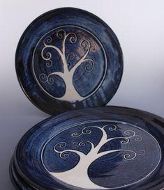 Tree Of Life Pottery Handthrown Stoneware Plate in Blue and White Sgraffito. fullcirclegalleryfwb via Etsy.
