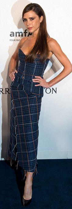 Who made Victoria Beckham's strapless blue dress?