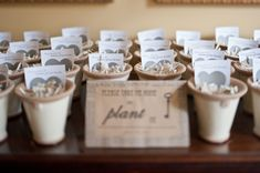 so many cute details at this wedding. i like the plantable seed hearts in a little pot