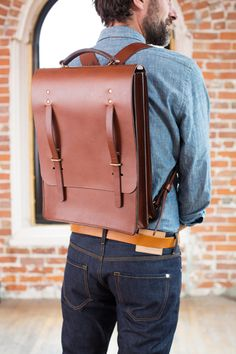 400 Series in Large Backpack in English Brown Leather - Bridle leather large backpack Leather Backpack, Leather Bags, Leather Working, American Made, Leather Craft, Brown Leather, English, Backpacks, Stuff To Buy