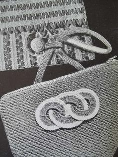 1930-40's era Crochet Purses Instructions Booklet  This book is 27 pages more clutch type purse in this issue There is a Rick Rack Purse personal motif knitted envelope, Raised shell , plaid knitted , evening bags,a few round purses, a knitting work bag , -etc