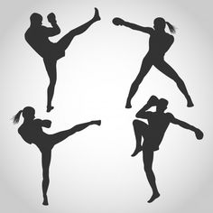 Men and women kickboxing silhouette Premium Vector Karate, Kickboxing Women, Fitness Backgrounds, Family Vector, Cartoon People, Icon Collection, Man Standing, Woman Silhouette, Laptop Stickers