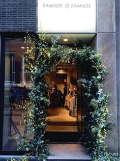 Flower entrance at the Samsøe & Samsøe flagship store opening in Amsterdam, April 2016.