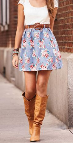 Pretty spring fashion!  Floral mini skirt, white tee and long boots... Women's teen spring summer fashion clothing outfit for date movies shopping