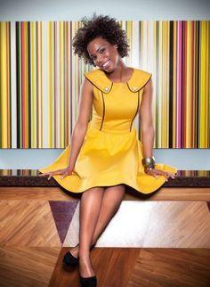 Yellow Sleeveless Flare Dress with Black Piping Detail,  Dress, yellow black piping sleeveless flare, Chic