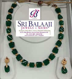 Awesome Green Hydro Beads Necklace Wear Beautiful & Be Beautiful Pearl Necklace Designs, Jewelry Design Earrings, Gold Jewellery Design, Emerald Jewelry, Bead Jewellery, Gemstone Jewelry, Jewelry Necklaces, Long Necklaces, Ruby Necklace