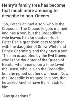 Also said Crocodile is Rumplestiltskin and is dating Belle and I'm done with you people just kidding I love you all but really