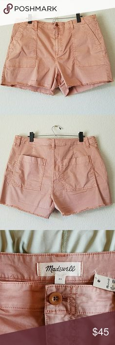 """Madewell Garment-Dyed Cutoffs size 31 NWT Measures approximately 15"""" long, 4"""" inseam, 12"""" front rise, 19"""" flat across waist. Model pic in green to show fit. Madewell Shorts"""