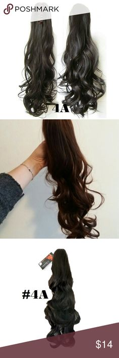 """Long 18"""" Claw on Ponytail Dark Brown H/Extension Very natural looking and Tangle-free hair extension. This is 18"""" wavy claw on clip in drawstring ponytail was made from 100% Japanese Kanekalon premium quality synthetic hair which is fine and silky like real human hair and is the most glamorous and natural of all hair extensions. Its 2 ways wearing design saves most of your time where its light curls and volume give you a gorgeous appearance! You will look charming just in a few seconds…"""
