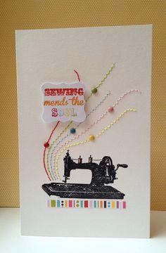 Sewing Mends the Soul Card by Keren nähmaschine stempeln + genähte linien