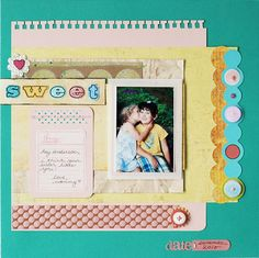 I like mounting the photo onto the card and stitching around it. The circles on the side are also cute. I need to be more brave with layering papers...