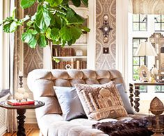 elements of a cozy, well appointed Winter to early Spring indoor Garden Room...