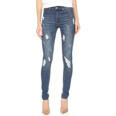 Cheap Monday Second Skin Jeans (145 CAD) ❤ liked on Polyvore featuring jeans, carbon torn, destroyed denim skinny jeans, ripped blue jeans, skinny jeans, ripped jeans and blue jeans