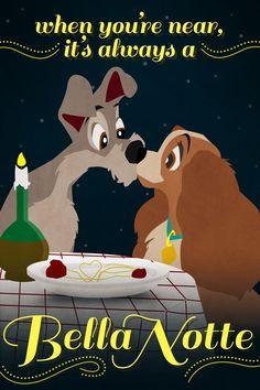 "Adorable Disney Valentine's Day Cards ""When you're near it's always a Bella Notte"" Walt Disney, Disney Dogs, Disney Nerd, Disney Girls, Disney Pixar, Disney Stuff, Cute Valentines Day Cards, Disney Valentines, Valentine Stuff"