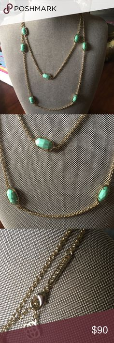 Kendra Scott Kelsie Long Necklace in Mint Mint Kendra Scott Kelsie long necklace. Necklace is doubled in photo. No tags but never worn. Bag included. All reasonable offers considered! Kendra Scott Jewelry Necklaces