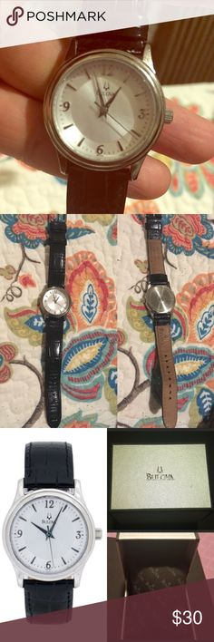 Bulova watch w/ Black Leather Strap Bulova Classic Women's Watch Stainless Steel with Black Leather Strap and Silver Tone Dial. I've had this sitting in my jewelry box for years. Comes with Box & new battery. Bulova Accessories Watches