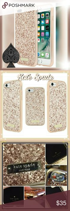 HP Kate Spade iPhone case Founded in 1993, kate spade new york aims to inspire colorful living! Show off your personal style with the playful sophistication of kate spade new york Exposed glitter finish enhances the overall style & feelStyled in kate spade new york's signature glitter colors. Featuring kate spade new york's iconic logo plate! Product information:Rose Gold Exposed Glitter Item:Weight5.4 ounces Product Dimensions:5.6 x 0.4 x 2.8 inches Item model number:KSIPH-059-RGLD…