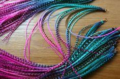 Mermaid Hair Feather Extensions Pink Purple Blue 8