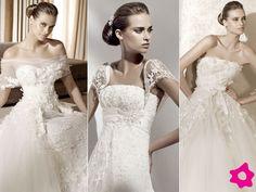 Las novias con espalda ancha deberán de elegir un vestido de novia que para nada tenga mangas llamativas, escotes strapless, redondos, cuadr...