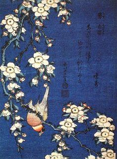 Hokusai Katsushika, Bullfinch and Weeping Cherry Blossoms , 1834