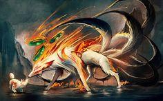 sakimichan nine tailed fox okamiden fan art anime manga digital art painting