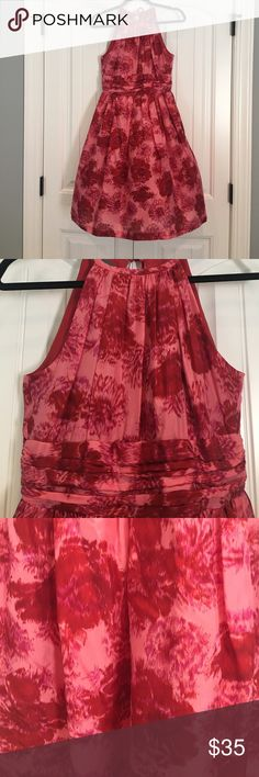 Kristin Davis Silk Dress Kristin Davis silk halter dress with keyhole tie in the back.  Pink and red floral design all over.  Lined.  Shell is 100% silk, and lining is 100% acetate. Dry Clean only.  Excellent condition, 🚭 smoke free, 🐶 friendly home. Kristin Davis Dresses Midi