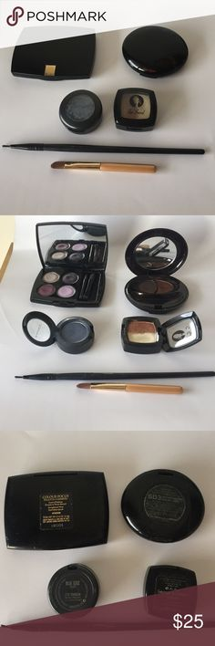Bundle 6 eyeshadow MAC TOO FACED LANCÔME SHISEIDO I'm clearing out me makeup drawer. Bundle of 6 includes 4 eyeshadows and 2 brushes. All authentic. MAC blue edge velvet eyeshadow( 1.5 g 90% full). TOO FACED George & weezie duo eyeshadow in gold & brown. (2.5g 95% full) LANCÔME color focus quad 4 passion, beautiful purples. 4.4g 90% full) SHISEIDO brown duo in reddish copper and bronze (1.5G 95% full) . Plus 2 brushes for eyeliner and concealer. MAC Cosmetics Makeup Eyeshadow