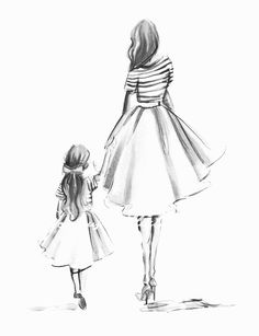How To Help Keep Family Members Recipes - My Website Mother And Daughter Drawing, Mother Daughter Quotes, Mother Art, Mom Daughter, Mother And Child, Two Daughters, Fashion Sketches, Art Sketches, Mother Tattoos