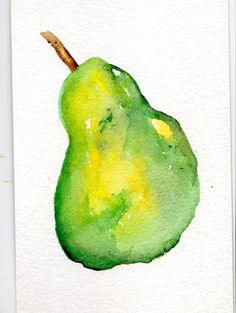 4 x 6 Original  Green Pear  Painting watercolor by SharonFosterArt, $8.00