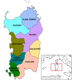 Sardinian provinces map Places To Visit, Map, Maps, Places Worth Visiting