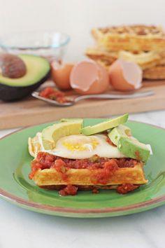 love a savory waffle. Overnight cornmeal waffles with eggs and salsa
