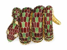 An enamel and diamond 'Serpenti' watch bracelet by Bulgari #Bulgari #ChristiesJewels