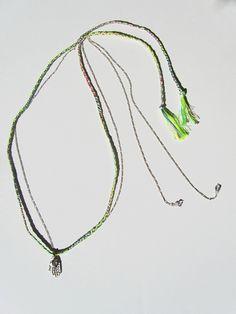Iolite Hamsa Neon Friendship Necklace - sterling silver, silk cord and semi precious stones  http://www.oncefound.co.uk/necklaces/iolite-hamsa-friendship-necklace