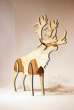 Plywood Moose or Reindeer - Beckri Eguez' design and creation - comes apart for next year!